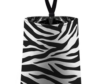 Car Trash Bag // Auto Trash Bag // Car Accessories // Car Litter Bag // Car Garbage Bag - Zebra Stripes - black and white