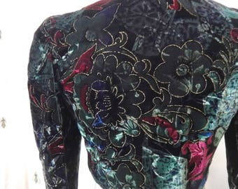 Vintage Cropped Velvet Blazer, Green and Purple Peacock Color, Floral Print with Gold Metallic Thread, Size Small, By Choice, Puff Sleeve
