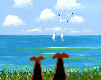 Airedale Welsh Terrier seascape LARGE Art PRINT of Todd Young painting TOGETHER