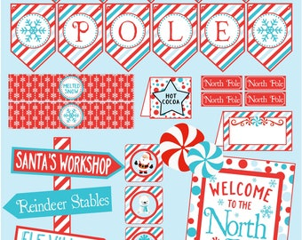 North Pole Party Decoration Package. Printable Party for Christmas Party, Elf Party, Elf Breakfast. Red & Blue Instant Digital Download.