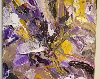 Original Purple & Yellow Abstract Acrylic Painting 11 x 14