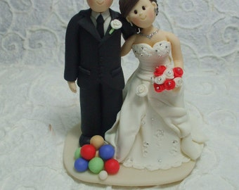 customized bride and bowler groom  wedding cake topper