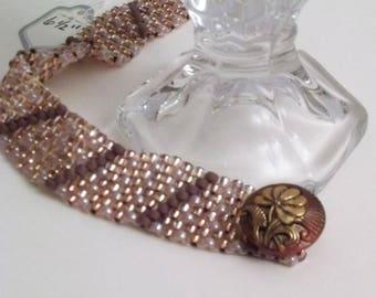 Rose & Champagne woven bracelet