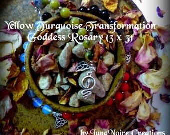 Yellow Turquoise Transformation Goddess Rosary (3 x 3)