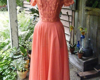 """Vintage 1940's """"Flame"""" Illusion Bodice DRESS GOWN 34-26-48 Du Barry Fashion NY"""