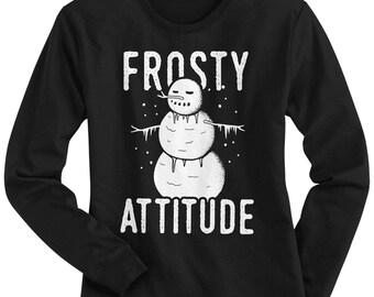 Frosty Attitude Snowman Women's Long Sleeve T-Shirt - Raw-Edge Raglan - Short Sleeve T-shirt - V-Neck Fitted T-shirt