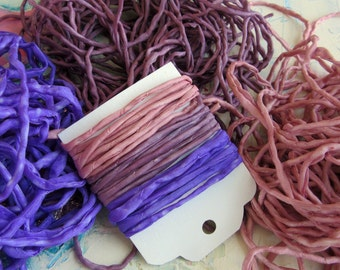 Hand Dyed Silk String - Purple Silk Cord - Jewelry cord - Lavender Rose