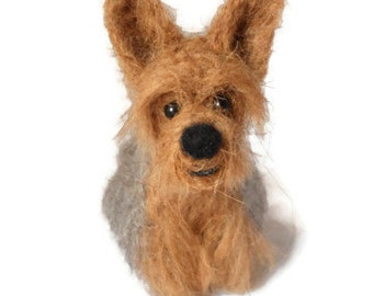 Custom Dog Portrait - Needle Felted Dog - Origonal Puppy Soft Sculpture. - Yorkshire Terrier - Yorkie -  small size