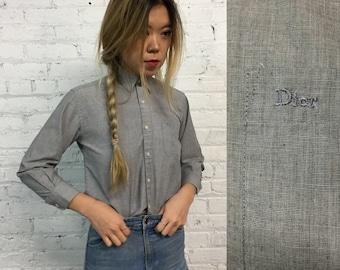 vintage Christian Dior button down top / Dior grey oxford shirt / gray long sleeved button up shirt
