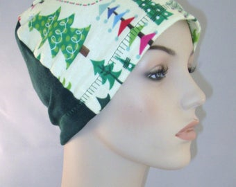 Christmas Trees Chemo Flannel Sleep Cap, Cancer Hat, Alopecia,Small Hearts
