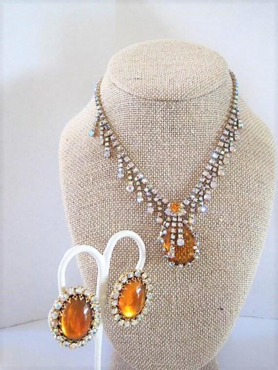 Vintage Topaz Necklace Earrings, Drippy AB Rhinestones, Topaz Earrings,  Mad Men Necklace Set
