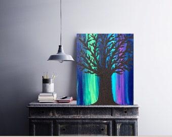 Northern Lights Painting - Aurora Borealis Art Nature Painting- Northern Lights Art - Textured Acrylic Painting -Canvas Art