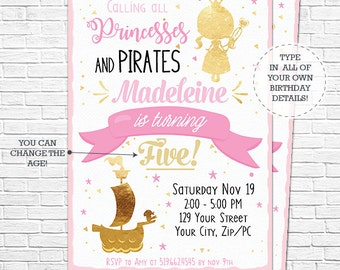 Princess & Pirate Party Invitation - Gold Princess and Pirate Birthday - Princess Invitation - Download and Personalize in Adobe Reader