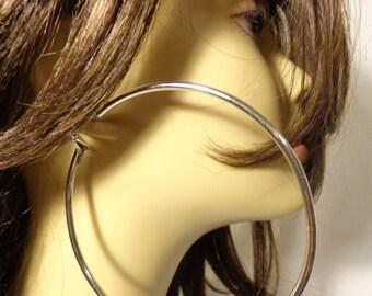LARGE 4 inch Hoop Earrings Thick Cast Tube Hoop Earrings Rhodium Plated Hoops