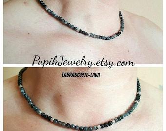 MEN'S NECKLACE Lava-Labradorite Necklace Beaded Necklace Gemstone Jewelry Mens Bracelet Mens Necklace Mens Jewelry Collier mens Collana mens