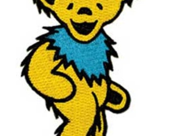 """Grateful Dead Dancing Yellow Bear Iron On Patch 2"""" x 1 1/4"""" Free Shipping Officially Licensed by C&D Visionary P-1206"""