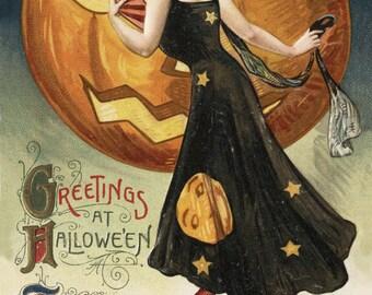 Salem, Massachusetts - Halloween Witch Dance - Vintage Artwork (Art Print - Multiple Sizes Available)