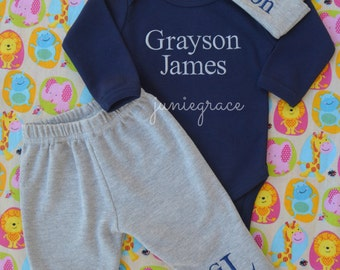 Baby Boy Coming Home Outfit Baby Boy Clothes Newborn Boy Coming Home Outfit Newborn Boy Clothes Baby Boy Gift Monogrammed Baby Boy Outfit