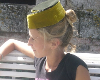 small fez made in yellow and green velvet