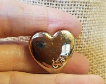Vintage Variety Club handprint Heart Pin, Heart pin, Variety Club Pin