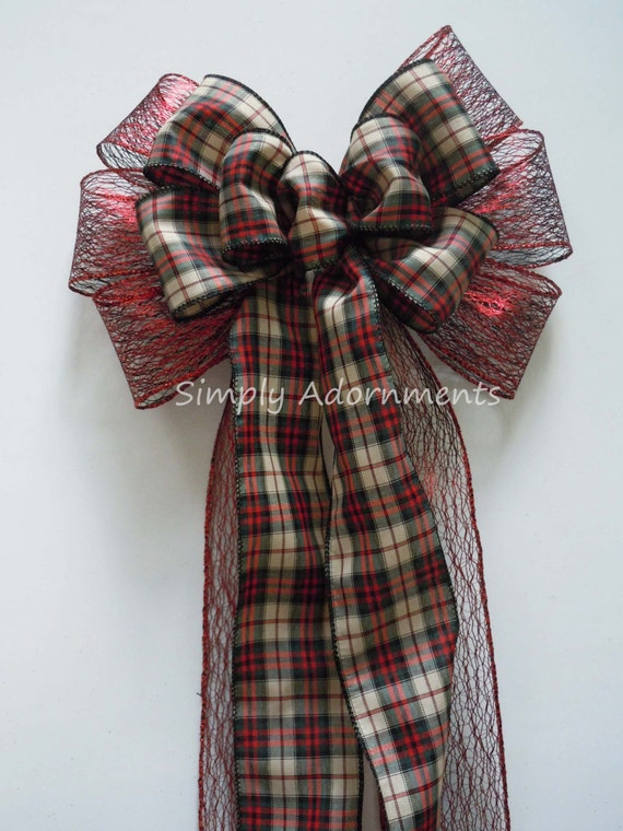Black Red Plaid Cottage Christmas Bow Red black Country Christmas Plaid Bow Country Chic Christmas Tartan Bow Cottage Christmas Wreath Bow
