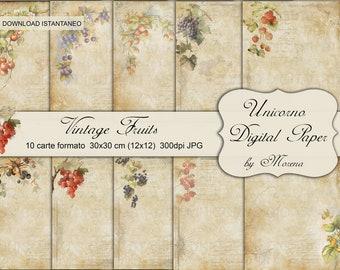 PATTERN OLD PAPER, Carta digitale, Craft, Carte per scrapbook, scrapbooking, vintage fruit prints, Vecchie carte, Antique fruit prints