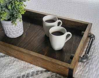 Serving Tray - Industrial Serving Tray - Rustic Serving Tray - Ottoman Tray - Rustic Industrial Tray - Breakfast Tray