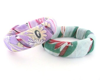 Upcycled Bangle Bracelet - Vintage Scarf Wrapped Bangle Bracelet - Set of 2