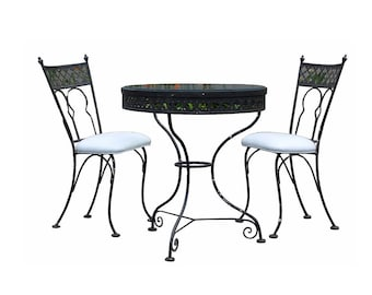 Mid Century Modern Vintage Patio Bistro Set Table & 2 Chairs