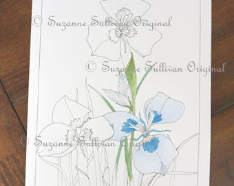 Flower Coloring Page, Moraea Flower Coloring Page, Art Coloring Page, Adult Coloring Page, Stress Relief, #246, Coloring Book Page, 1 PDF