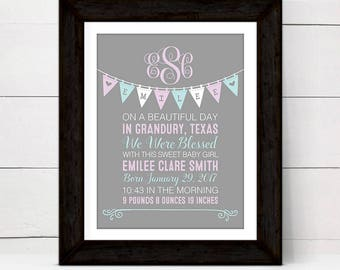 Personalized baby gifts, birth announcement sign,custom birth stats wall art print, baby girl baptism gift from godmother, purple green art