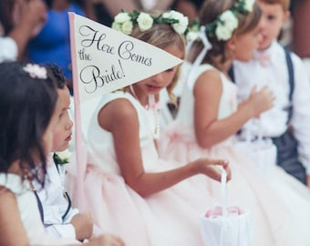 Here Comes The Bride Small Wedding Sign   Made To Order Wedding Ringbearer Flowergirl Flag Pennant Personalized Classic Script 1014 SPW