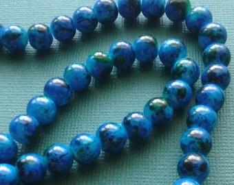 25 Blue Round Glass Beads 8mm - B5017