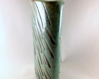 Handmade, Stoneware, Chameleon Green, Oval Vase with Black Wax Resist Brushwork. This is Ready to Ship.