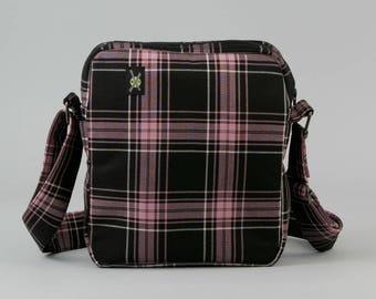 Punk Rock Girl Small Crossbody Bag, Pink Black Plaid, Zipper Closure, Womens Fabric Crossbody, Travel Bag, Pockets, Skater Girl