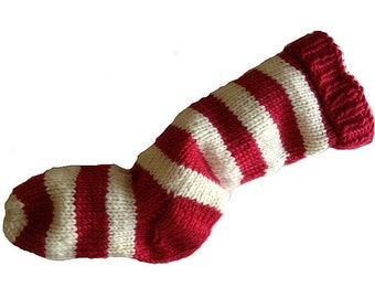 Hand Knit Christmas Stocking Hand Knit Red and Natural White Striped Santa Sock Ready To Ship