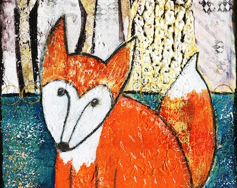 Fox art print, woodland animal, fox painting, children decor, illustration, unique,mixed media, paper, ink, watercolour and Acrylic.