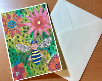 Blank Note Card Printed with Original Art, Comes with Envelope -  Winged Insect and Flower