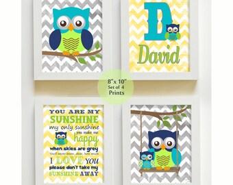 Nursery Art - You are My Sunshine Prints for Nursery or Kids Room,  Baby Nursery Decor, set of four PRINTS