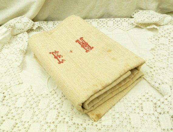 Large Heavy Antique French Ecru Hand Loomed Hemp Tea Towel with Red Cross Stitch Monogrammed E M, Shabby Country Cottage Farmhouse Cloth