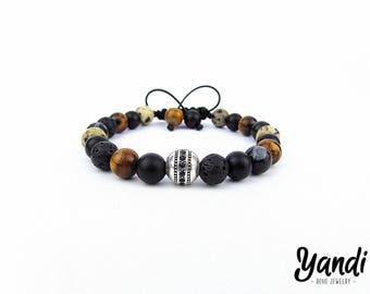 Mens bracelet , Mens shamballa , Shamballa bracelet , Boho bracelet , Tribal bracelet , Beaded bracelet , Tiger eye bracelet , Lava stone