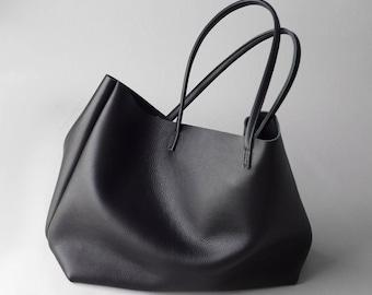 black leather tote bag type ProSL - handmade