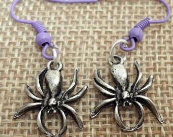 vintage very nice pewter SPIDER hypoallergenic pierced  earrings /M4