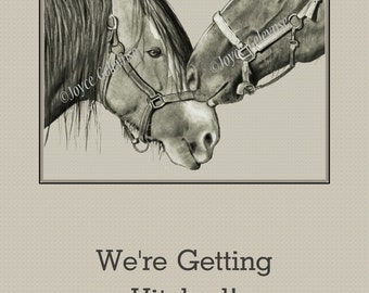 Printable Western Wedding Invitation: Horses Nuzzling, Pencil Drawing, Instant Download WHOA Team Fine Art