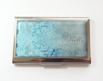 Personalized, card case, Personalized Business Card Case, business card holder, Custom Case, stainless steel, lace, you pick color (4221)