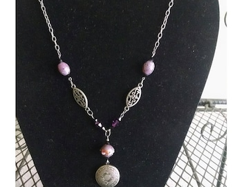 Antique silver plated locket necklace