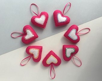 Felt Christmas decorations - Set of 7 padded felt Christmas decorations - Rainbow Christmas decorations -  Pink and white heart