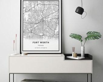 Fort Worth map print | Scandinavian wall art poster | City maps Artwork | Texas gifts | Poster Map | M16