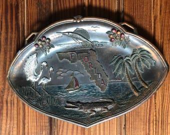 Vintage Cast Metal Florida Souvenir Platter