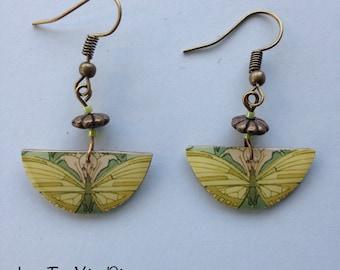 Earrings resin, butterfly art print.